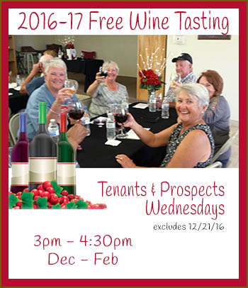Join Copper Mountain RV Park for Wine Tasting for guests and prospective guests every wednesday from dec thru february, excluding Dec 21. Coupon required.