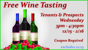Join Copper Mountain RV Park for Wine Tasting for guests and prospective guests every wednesday from dec thru february, excluding Dec 23.