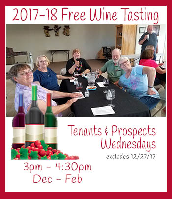 Join Copper Mountain RV Park for Wine Tasting for guests and prospective guests every wednesday from dec thru february, excluding Dec 27. Coupon required.